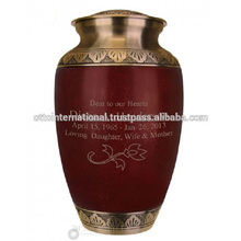 Red & Golden Large Funeral Urns