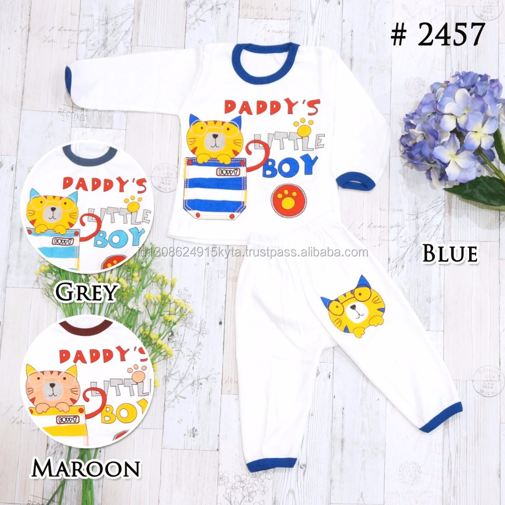 Long Sleeve Newborn Baby Sleepwear Set Cotton Daddys Little Boy Printing T-shirt with Pants SKBP2457S