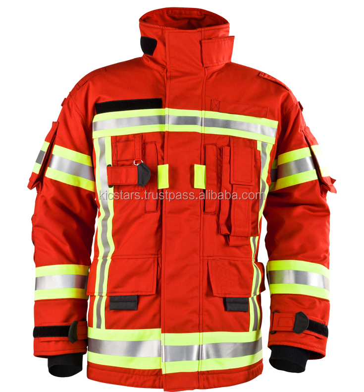 Best Quality Red Fire Proof Protection Jackets With Reflective Tape