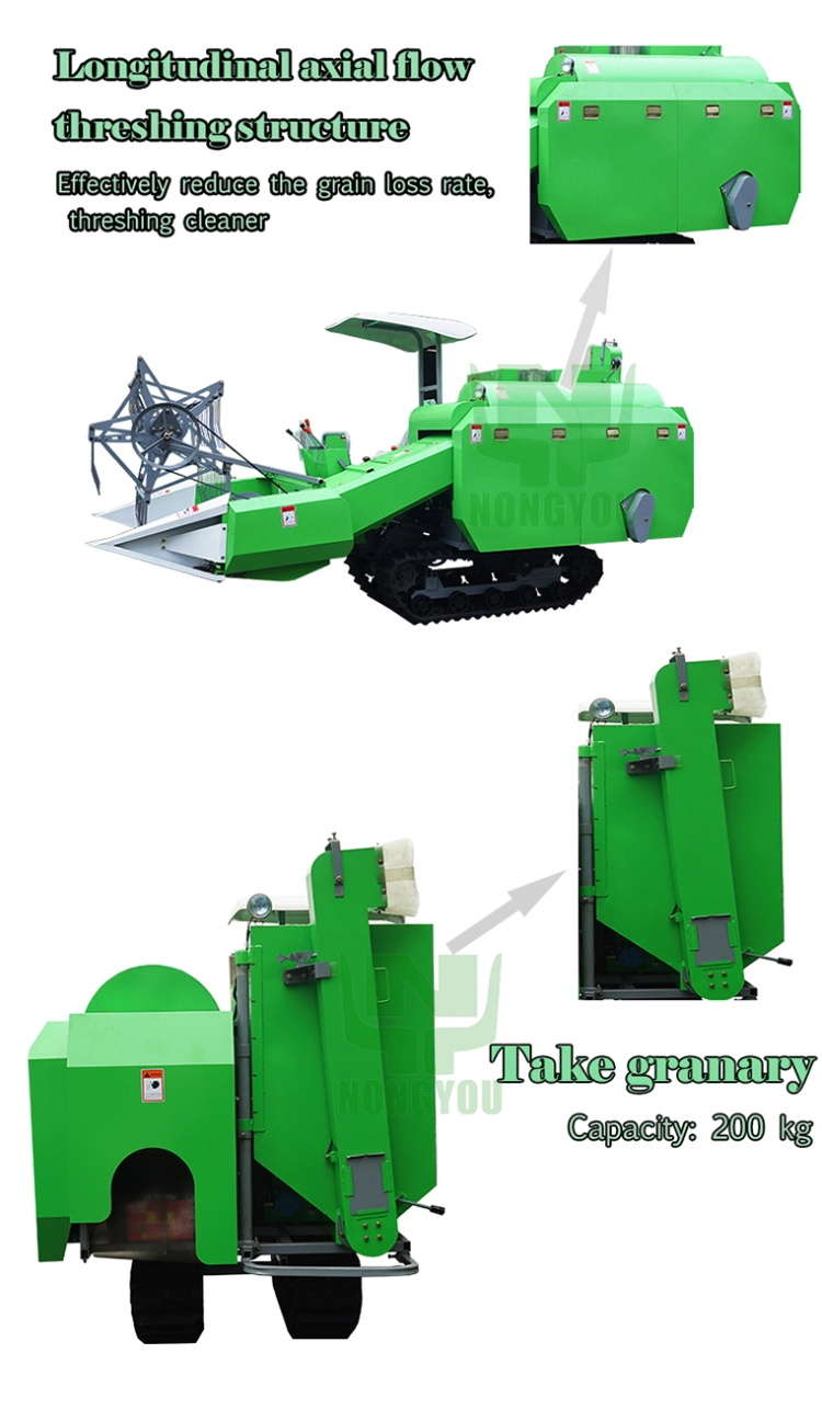New Brand Combine harvester 4LZ-1.6 Multi-Functional Mini Rice Paddy cutting with Low Price
