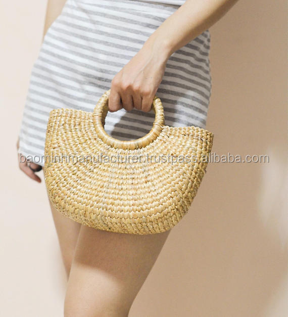 Weaving seagrass top handle bag from VietNam