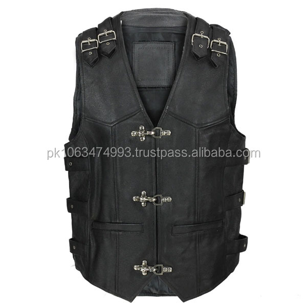 Mens Real Leather Hide Motorcycle Biker Waistcoat Fish Hook Buckle Vest in Black Vest