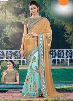 Cream Imported Georgette On Net Designer Saree / Sarees to Buy Online / Sarees Collection Online Shopping