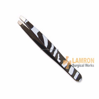 Professional Beauty Makeup Stainless Steel Black Slant Tip Edge Eyebrow Tweezer