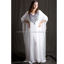 Blue Chrystal Hand Embroidery Dubai Moroccan muslim White Georgette kaftan evening long Dress