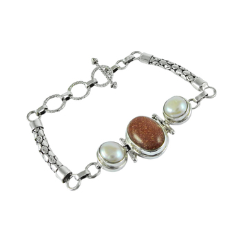 Pearl, red sun star gemstone 925 sterling silver bracelet Indian silver jewelry wholesale silver bracelets exporters