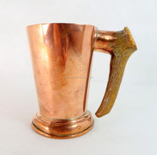 Horn Handle Solid Brass Drinking Mug With Silver Finish, Copper Moscow Mule Mug With Horn Handle