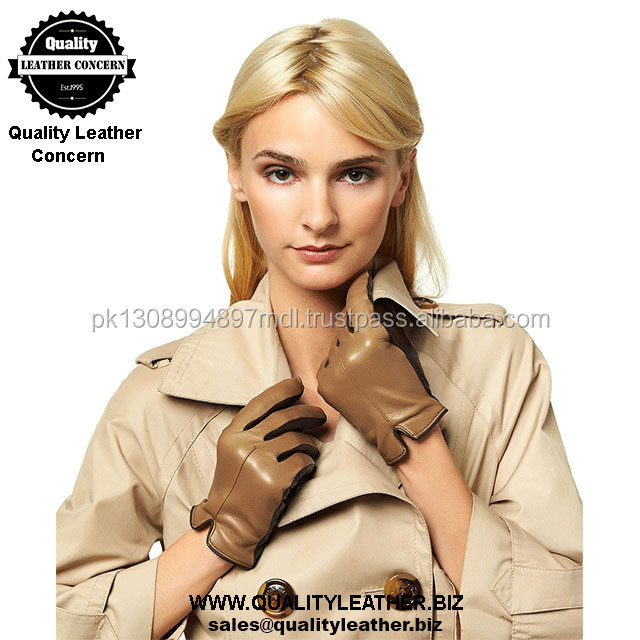 Three color combination style with cashmere lined ladies leather dress gloves 2018