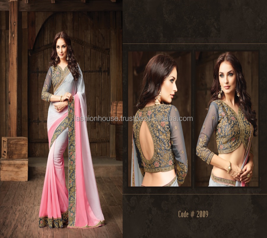 Pink Designer Indian Saree with Embroidery Hand Work and Blouse