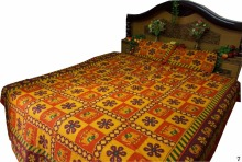 Yellow flower Elephant Stitch Handmade Indian Kantha Beds Sheets