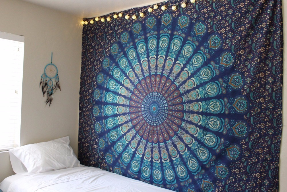 Indian Mandala Tapestry Cotton Wall Hanging Twin Printed Bedspread Bed Cover Wholesale Hippie Tapestries