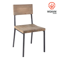 Woavin Industrial Metal Iron Modern Dining Chair With Wooden Seating