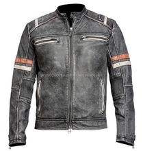 pakistan leather motorcycle jacket Black Distressed jackets for men
