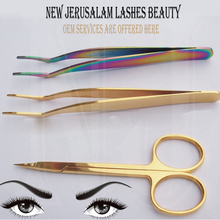 Gold Coated Eyelash Extension Tweezers And Lashes Scissors 3Pcs Set / High Quality Volume Lash Tweezer and Scissors