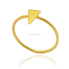 Beautiful Sharp Triangle Shape 18 k Gold Plated 925 Sterling Silver Rings Jewelry