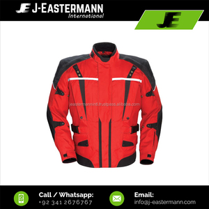 Superb Warm Cheap Price Red/Black Winter Textile Motorcycle Riding Jacket Reflective Pipping CE Armors Multipurpose Design