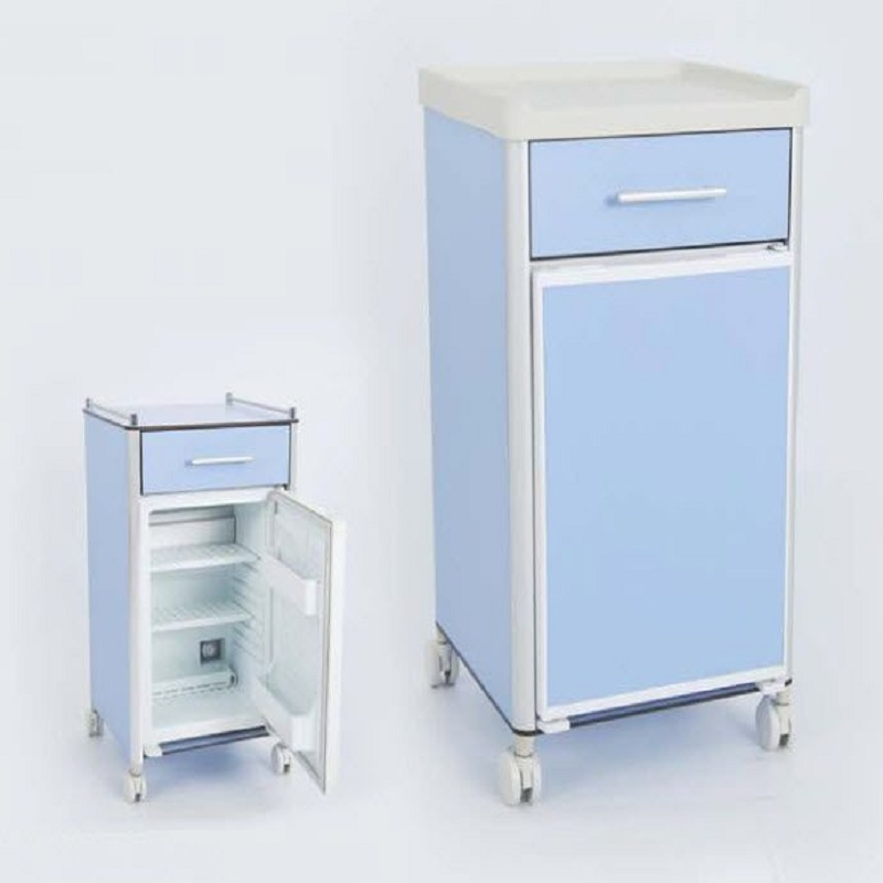 Hospital bedside locker with ABS top with castors or fixed base