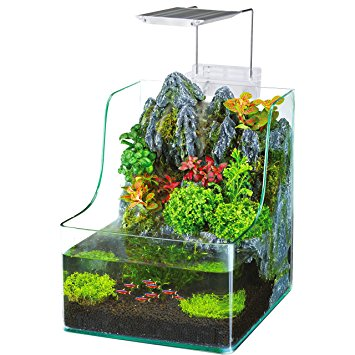 Penn Plax Planting Tank With Aquarium, Waterfall, LED Plant Grow Light, Sponge Filter