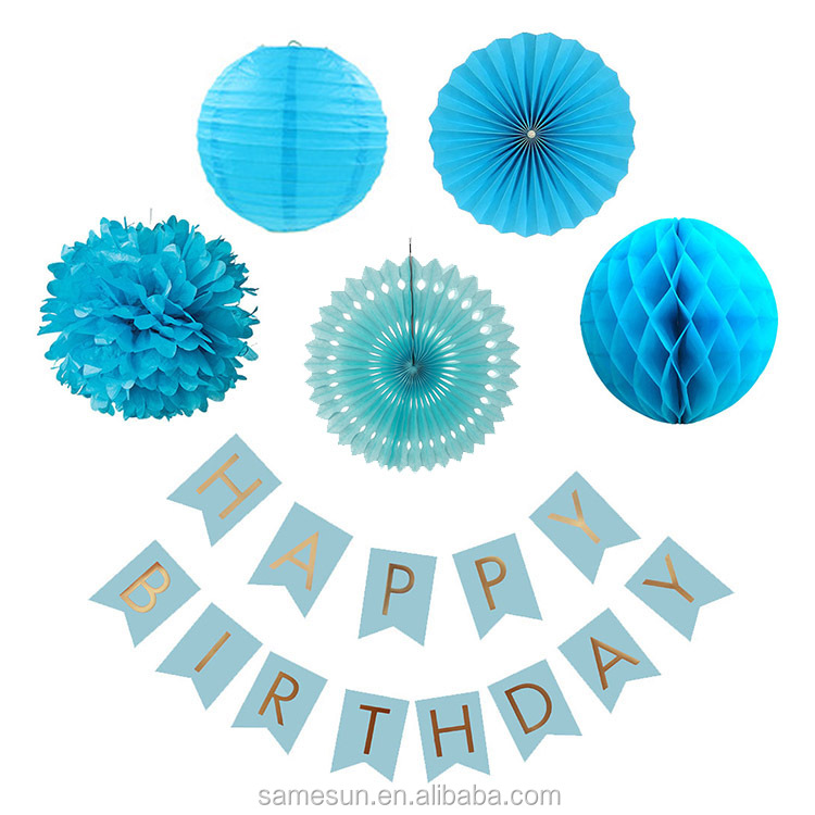 Boy Birthday Party Paper Decoration Set