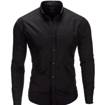 Fashionable slim fit long sleeve classic plain black shirt for men with turn-down collar of european men's apparel brand Ombre
