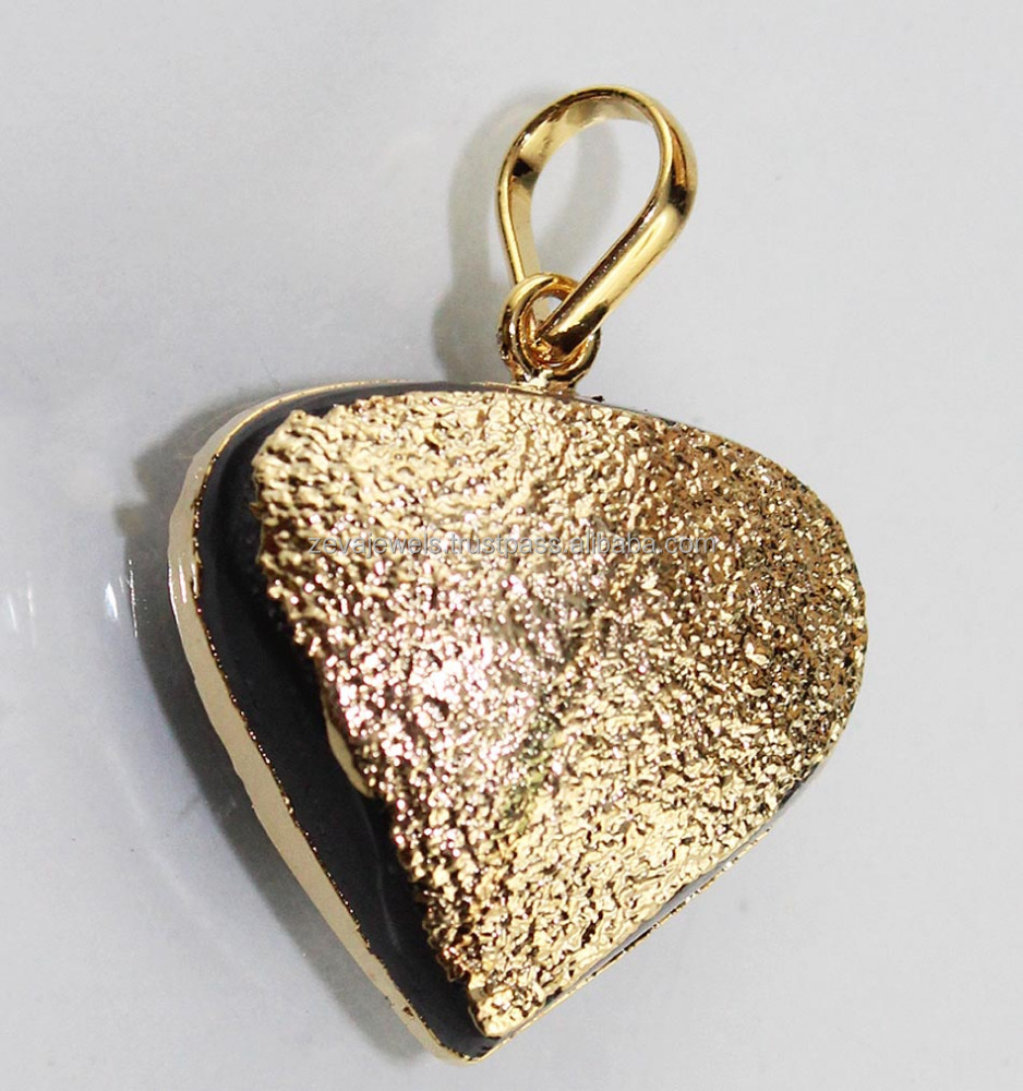 Beautiful Design Agate Stone 24k Gold Plated Pendant Wholesale , Jewelry