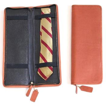 Travel Tie Case Brown Leather