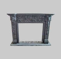 Home decoration white stone fireplace surround Black marble elephant decoration fireplace stove DSF-LS019