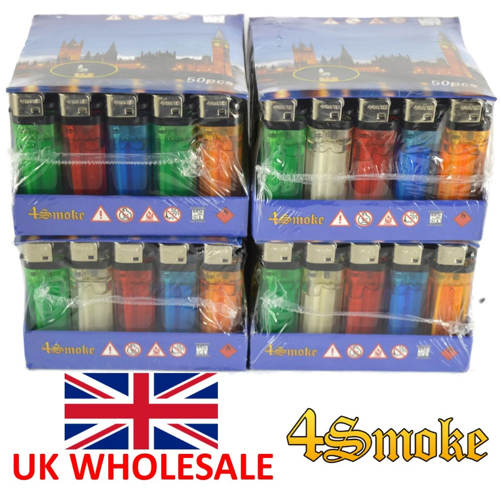 HIGH QUALITY 4Smoke Disposable Plastic 50pcs Colour Cigarette Gas Lighter - UK WHOLESALE