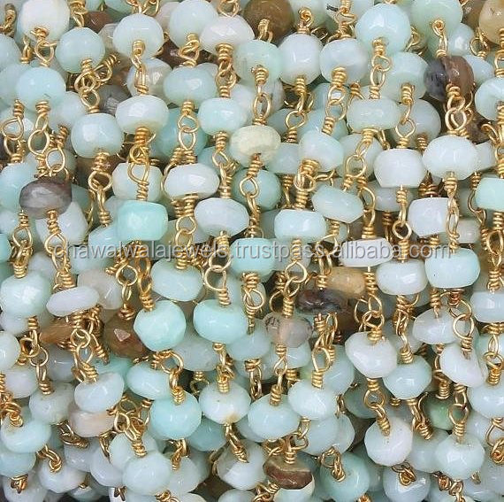 Wholesale price 5 feet natural peru opal rondelle rosary style 3mm - 4mm beads wire wrapped gold plated chain