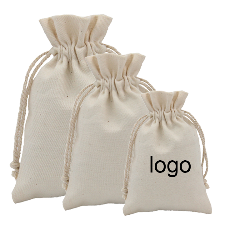 Customized muslin drawstring cotton bag for gift
