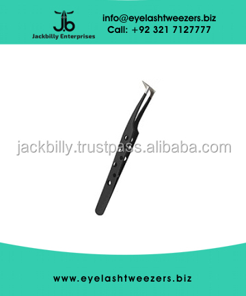 Eyelash Extension Tweezers, L Type Volume Tweezer With Holes Matte Black Color Finish