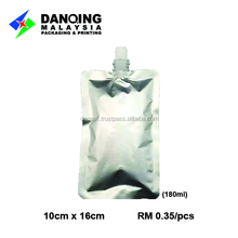 stand up pouch with spout pouch bag/plain stand pouch with spout beverage bag /water bag with stand and spout for 180ml