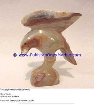 DECORATIVE ONYX CARVED ONYX EAGLE STATUE