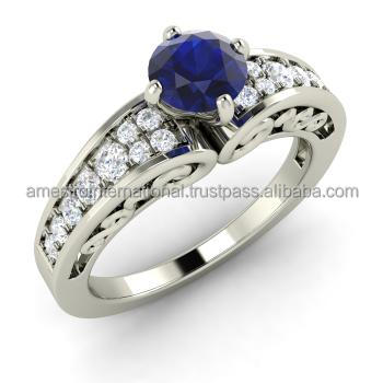 AZURE ENGAGEMENT RING Sapphire and Diamond Vintage Engagement Ring in 14k White Gold
