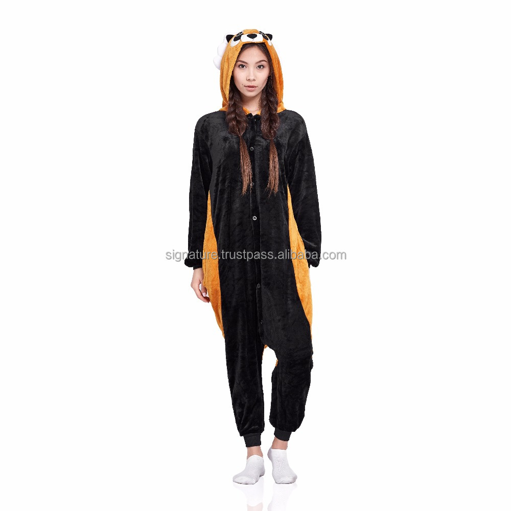 Red Panda Raccoon Adult Pajamas Butt Flap Pockets Kigurumi Plush Onesie Hood Animal Cosplay Costume Jumpsuit Home Clothes