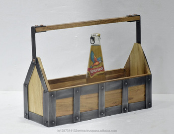 Classic natural wood and metal beer caddy with handle
