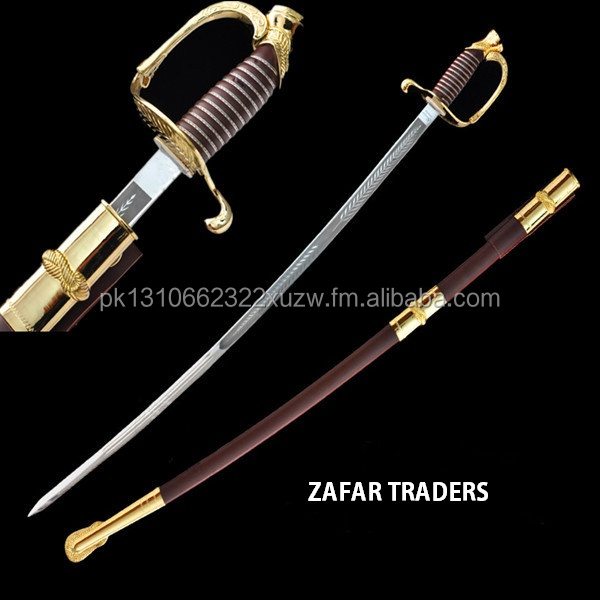 sword stainless steel alloy fittings European military army command ceremony sword gold plated