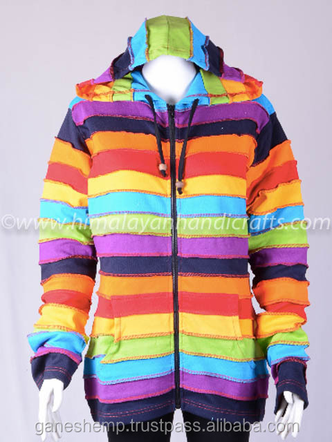 MULTICOLOR FASHIONABLE PRINT BOHEMIAN LADIES HOODIE CSWJ 446