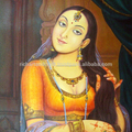Jaipur Rajasthani Indian Art Gallery Beautiful Indian Woman Girl Queen Oil Canvas Painting