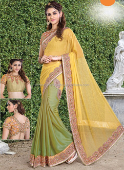 Yellow Satin Georgette Designer Saree / Fashion Saree Online Shopping / Saree Sale Online Shopping