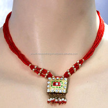 antique rajputi lac necklace