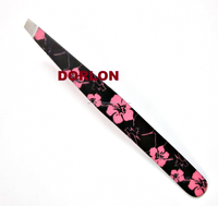 Professional Beauty Salon Eyebrow Slanted Tweezer Tweezers PINK FLOWER