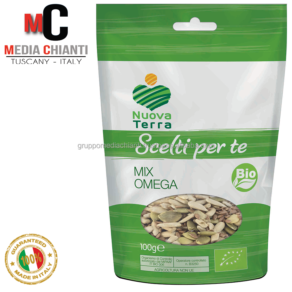 High quality natural ORGANIC OMEGA MIX - For Bread:sunflower seeds, pumpkin seeds, linseed bag 100 gr cooking use