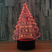 wholesale Merry Christmas USB Night Light 7 Color Changing Snow Visual Tree baby 3d night light led