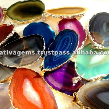 LIGHT CATCHER AGATE SLICE PENDANTS