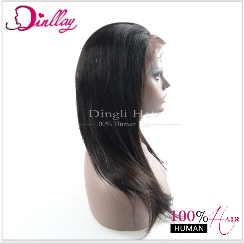 Natural looking 130% density human hair natural straight lace wigs