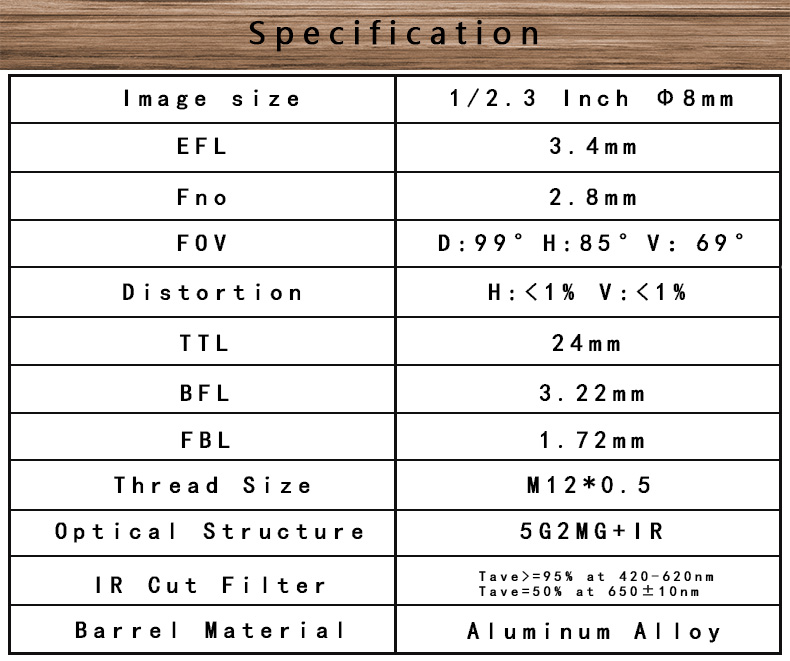"1/2.3"" EFL 3.4mm F:2.8 FOV:99D 7G M12 no distortion lens for Gopros Acoustic Camera with IR filter"