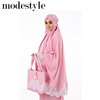 Telekung Suri Premium Cotton Lace Exclusive Malaysia in Dusty Pink suitable for Muslim wear