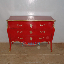 Cheap Retro Red Painted French Commode