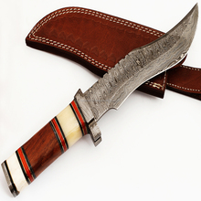 High Rated Damascus Bowie Hunting knife , Bone and wooden Handle /Damascus Thumb Guard